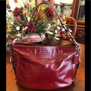 Coach Zoe Red Patent Leather Handbag F12735